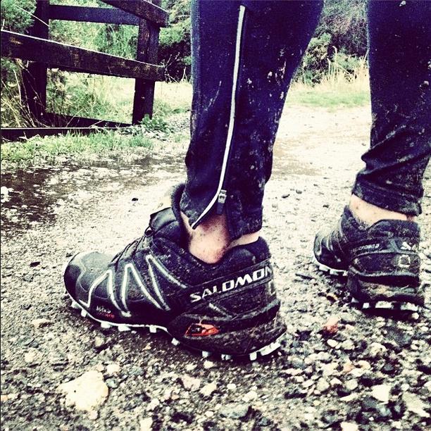 Muddy running shoes